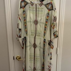 Adorable western pattern silk dress built in slip